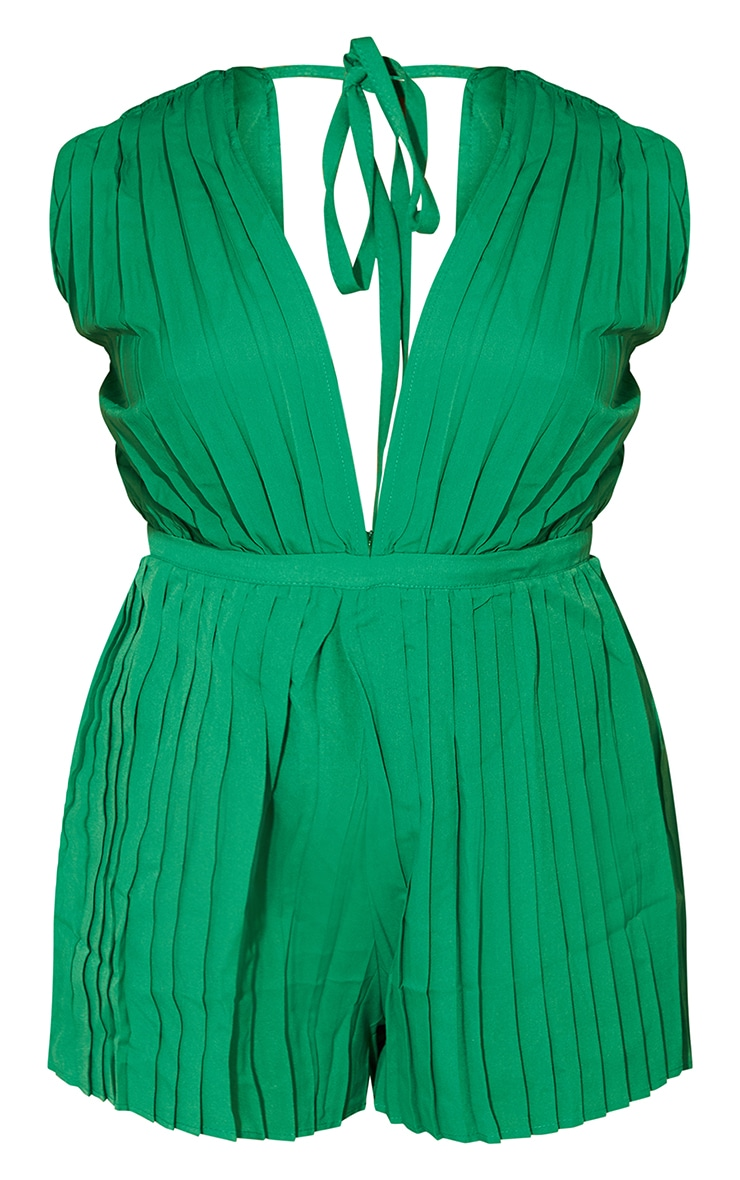 Bright Green Pleated Shoulder Pad Plunge Romper 5