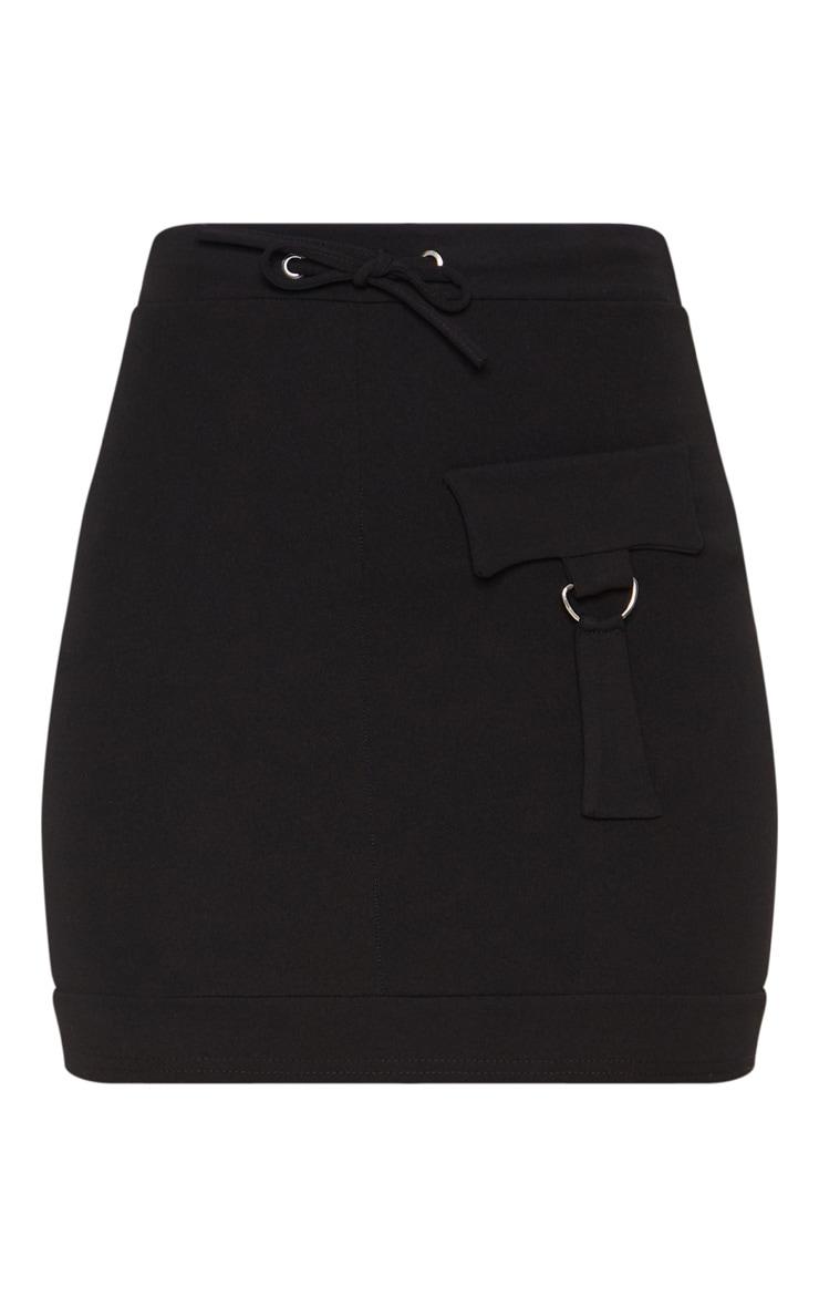 Black Scuba Military Pocket Detail Skirt 3