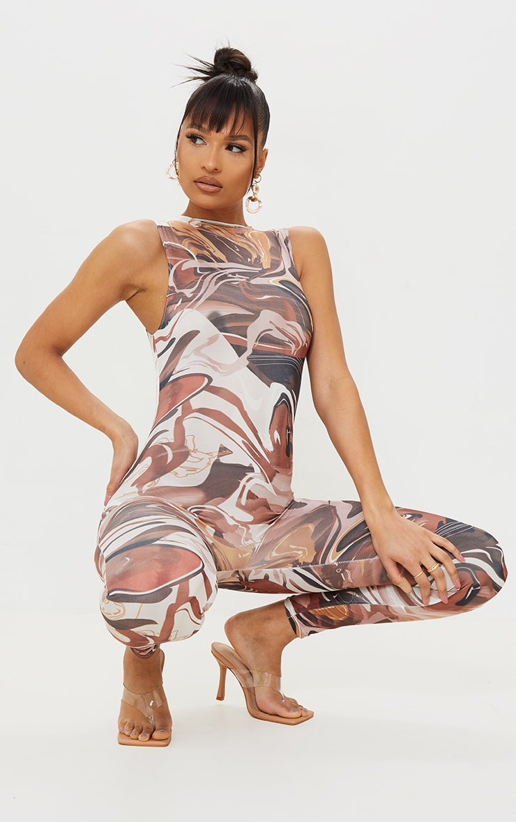 Chocolate Abstract Print High Neck Sleeveless Jumpsuit 1