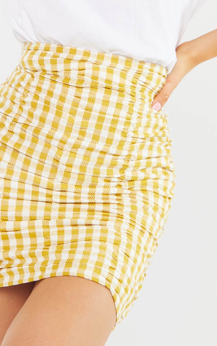 Petite Yellow Gingham Ruched Bodycon Skirt 5