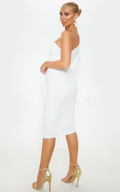 White One Shoulder Tie Waist Midi Dress