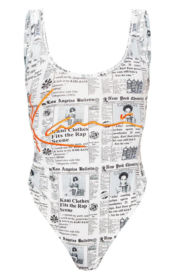 KARL KANI Monochrome Newspaper Print Embroidered Bodysuit 3