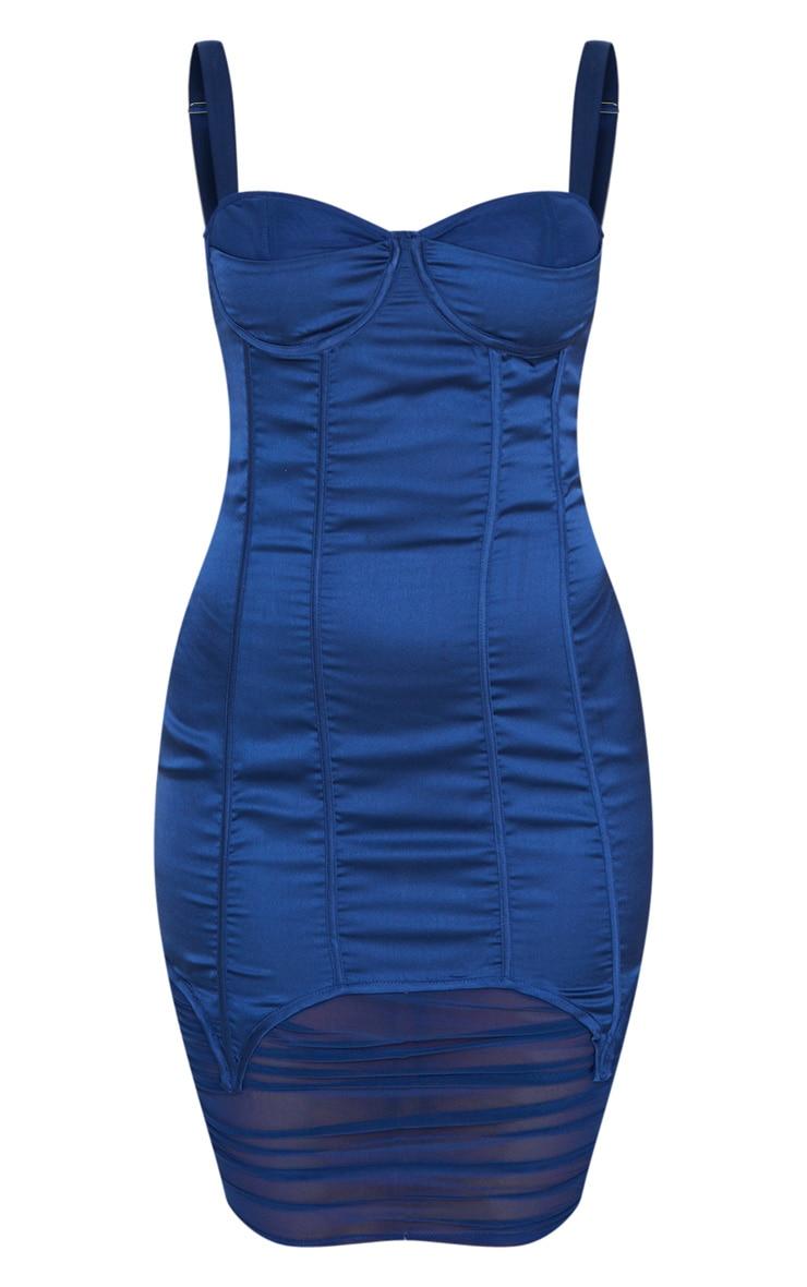 Robe mi-longue satinée bleu nuit style corset à parties mesh 4