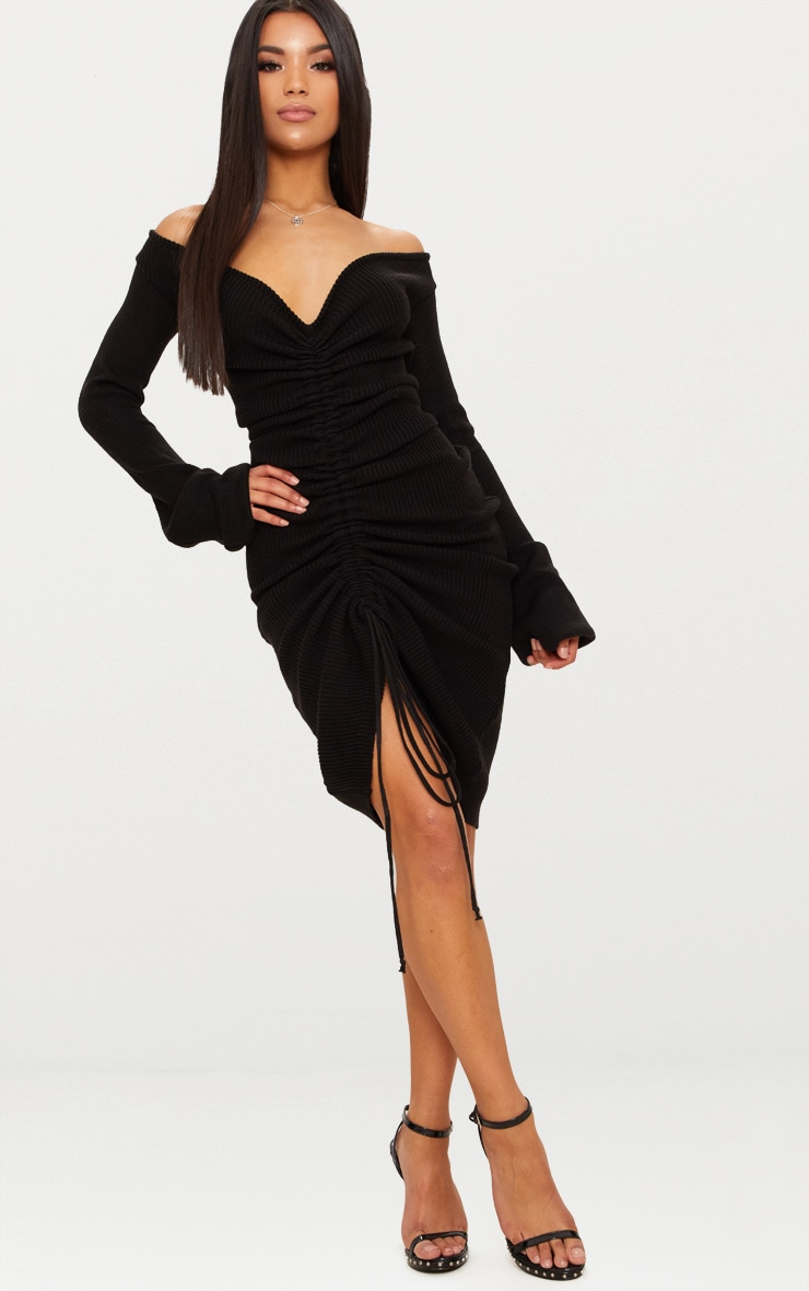 Black Ruched Knit Extreme Sleeve Midi Dress 1