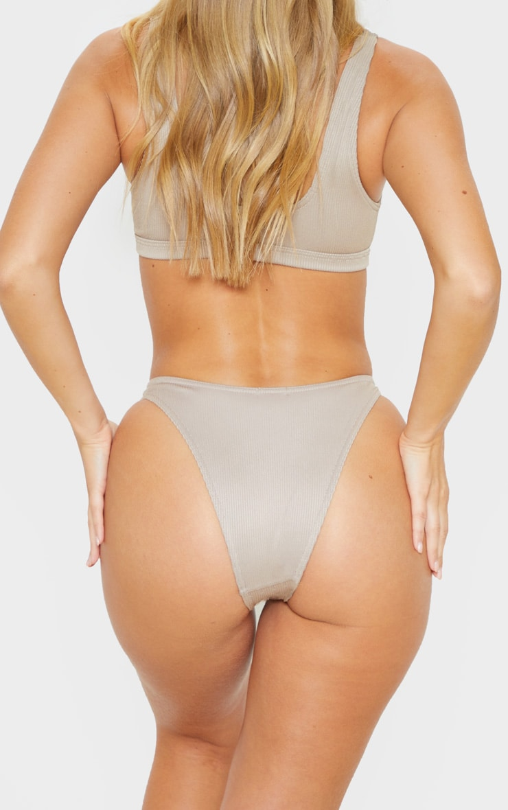Pale Taupe Ribbed Super High Leg Bikini Bottom 6