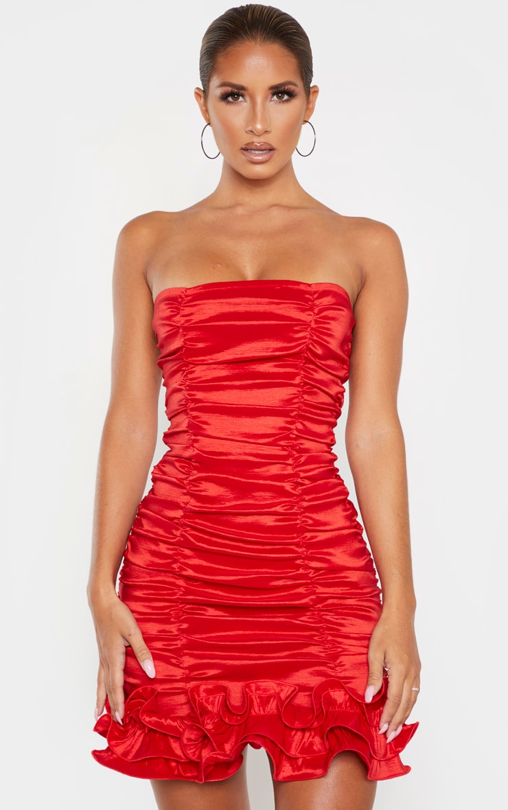 Red Woven Ruffle Frill Hem Bandeau Bodycon Dress 1