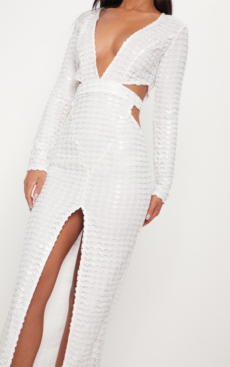 White Metallic Detailed Cut Out Plunge Maxi Dress 5