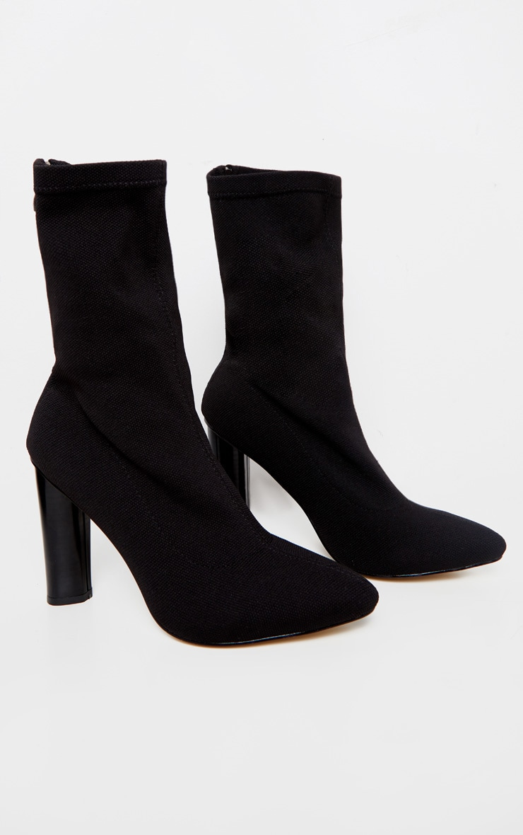 Black Woven Sock Heeled Boots  3