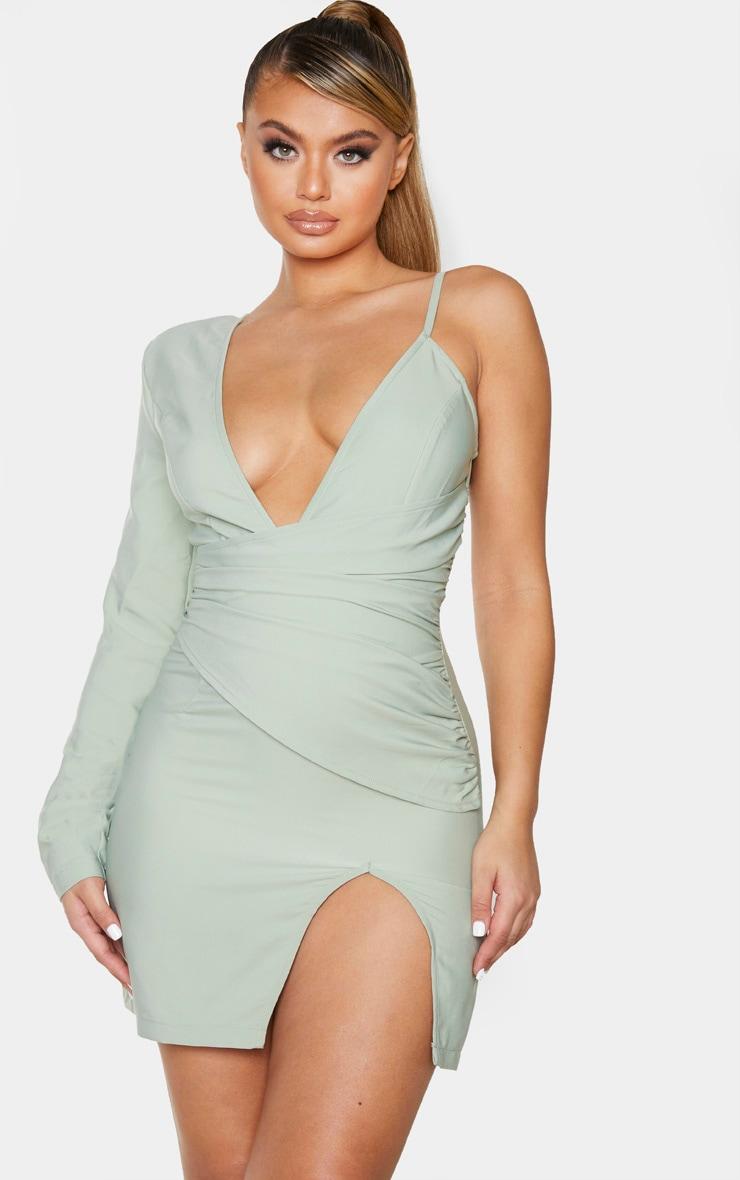 Sage Green Asymmetric Drape Split Bodycon Dress 1