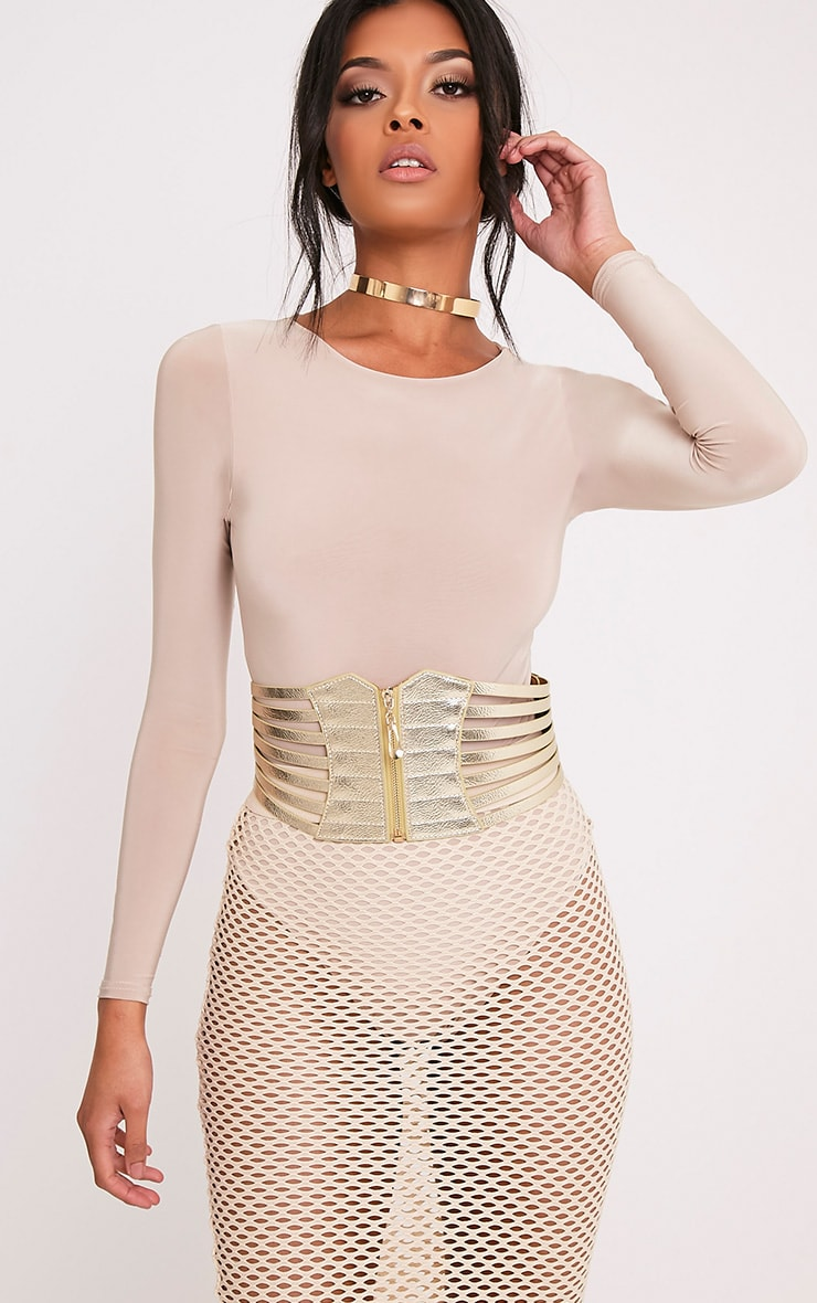 Kimie ceinture en corset à fermeture éclair dorée 1
