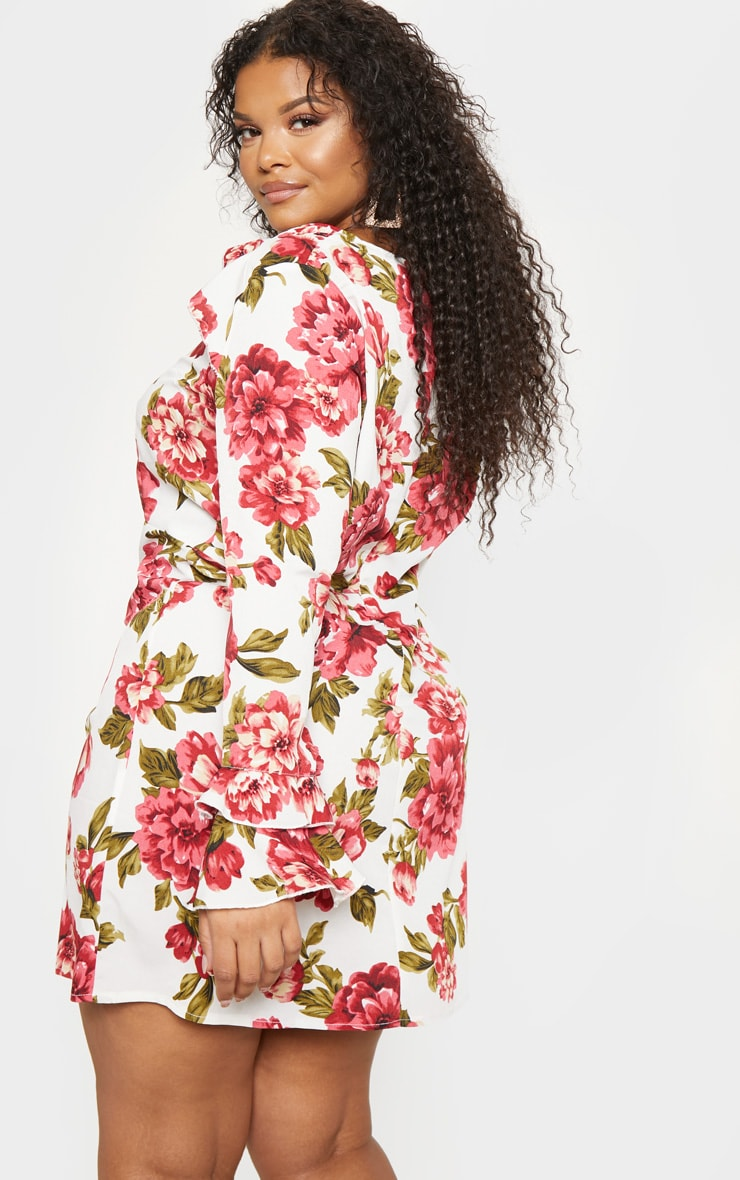 Plus Cream Floral Ruffle Detail Shift Dress 2