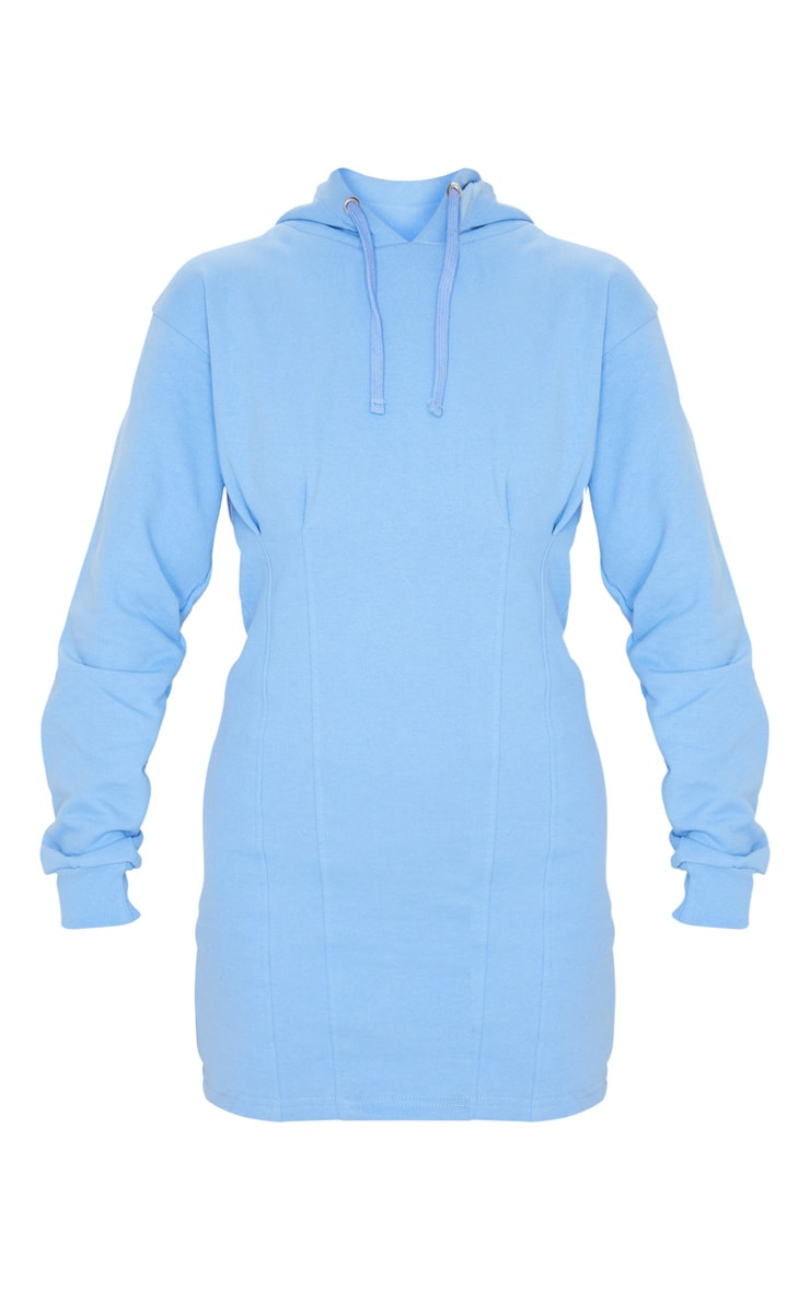 Pastel Blue Pleated Hoodie Sweatshirt Dress 5