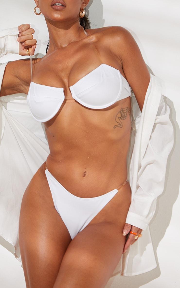 White Clear Strap Underwired Bikini Top 4