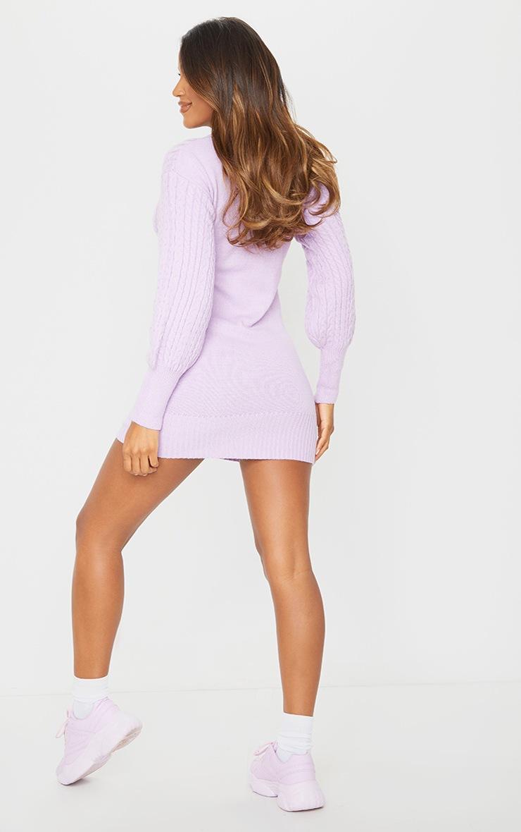 Lilac Cable Knit V Front Jumper Dress 2