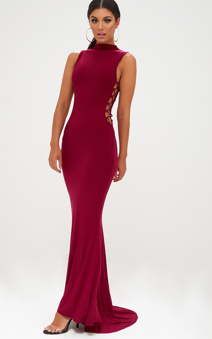 e99b9d9dbd0 Burgundy Lace Up Side Maxi Dress. Dresses