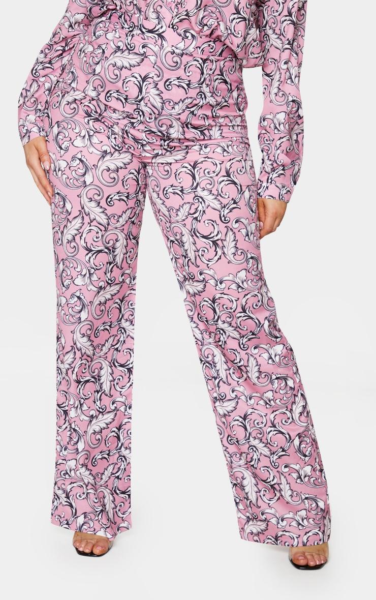 Plus Blush Baroque Printed Wide Leg Trousers 2