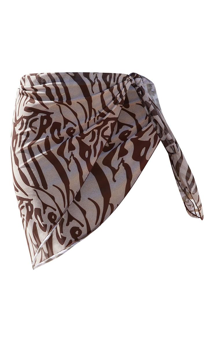 Brown Zebra Print Mesh Asymmetric Tie Side Beach Sarong 6
