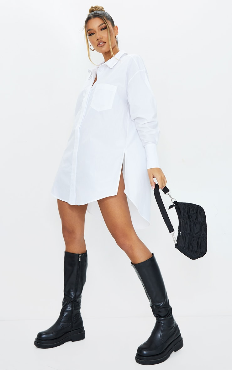 White Poplin Split Side Detail Shirt Dress 1