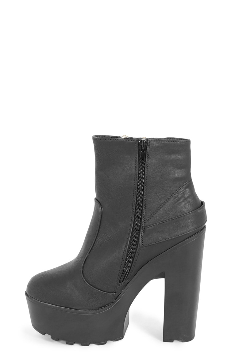 Sani Black Zip Up Cleated Sole Biker Boot 3