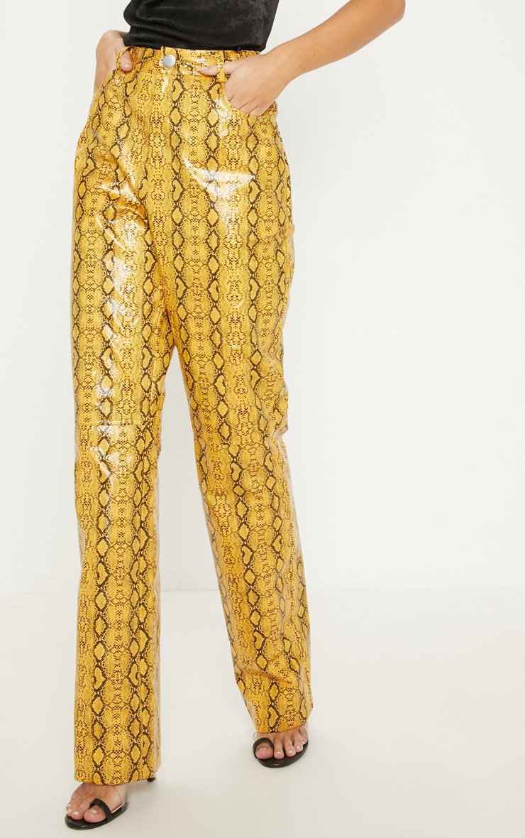 Mustard Faux Leather Snakeskin Straight Leg Pants 2