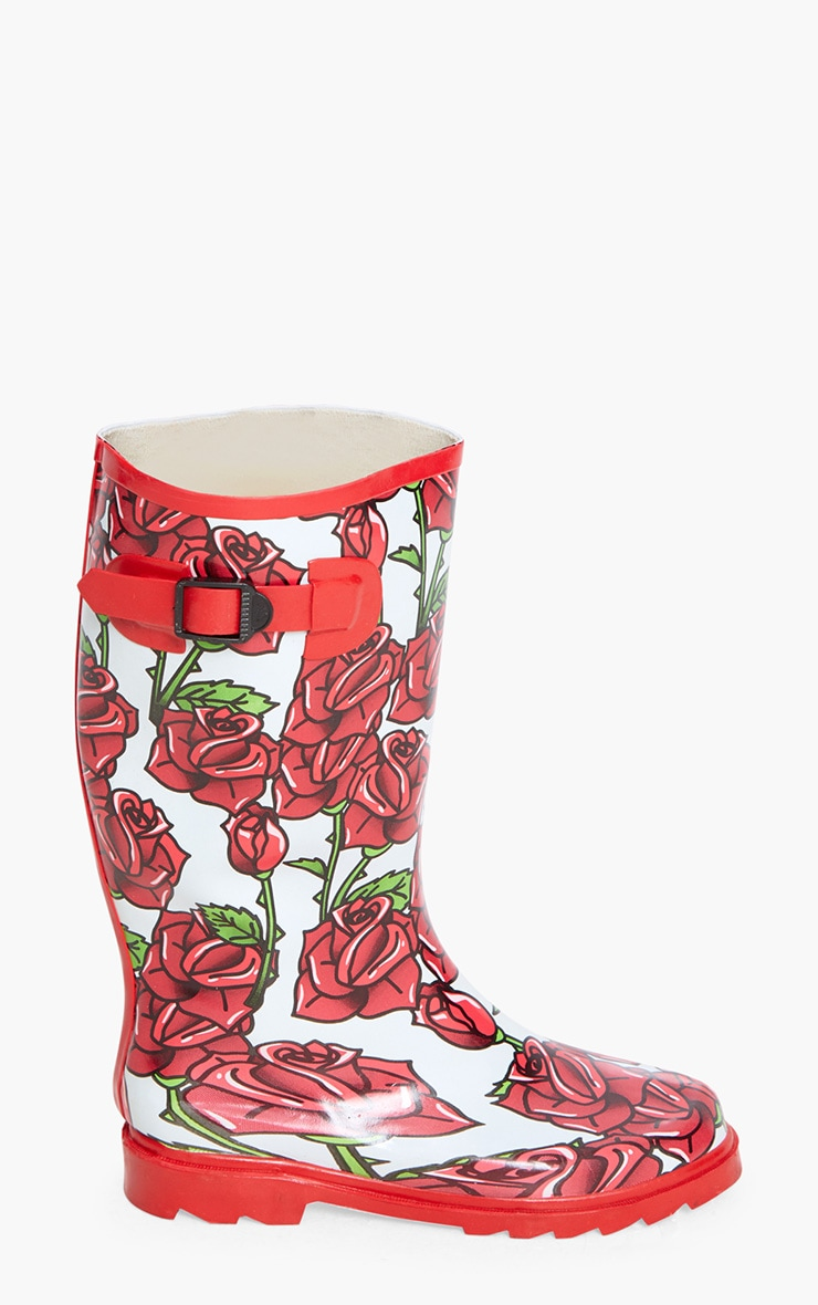 Red Rose Print Long Wellies  3