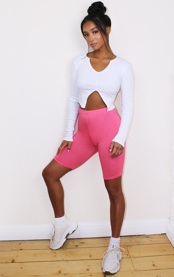 Petite Hot Pink Cycle Short 4