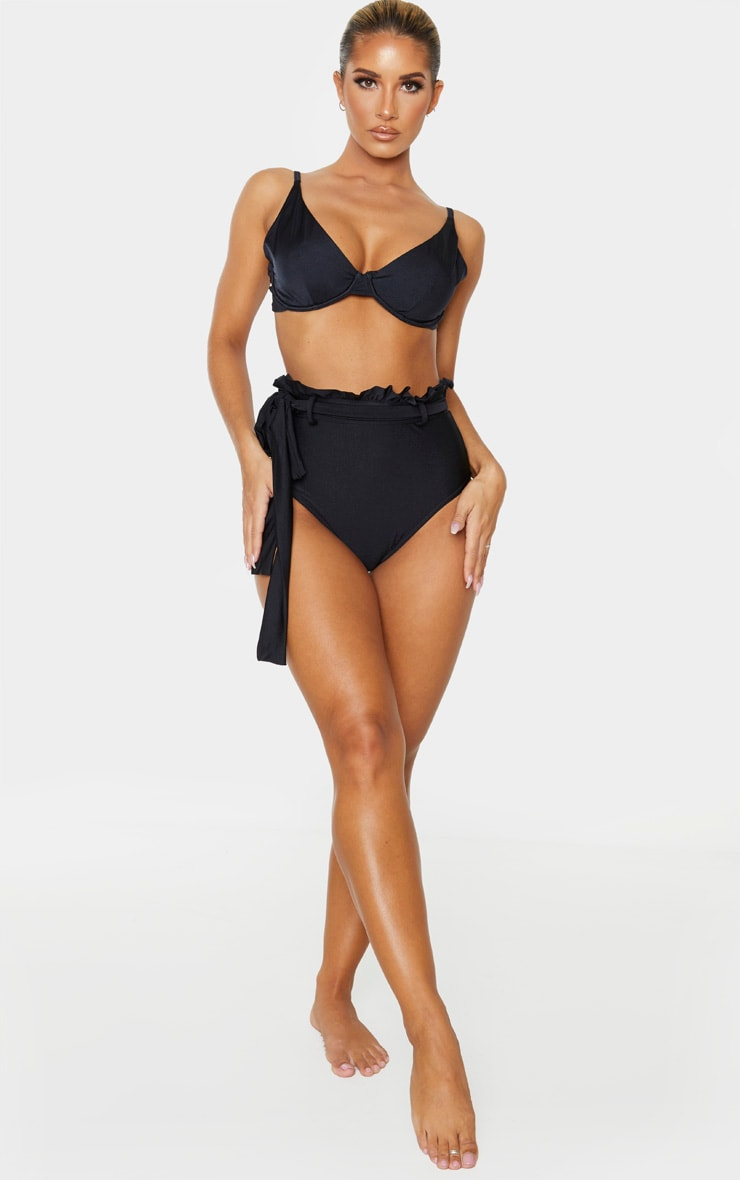 Black Paperbag Belted High Waist Bikini Bottom 5