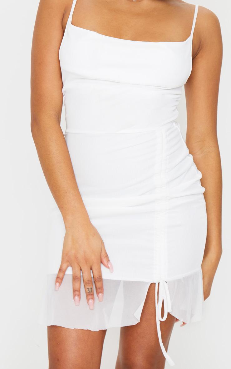 Petite Cream Mesh Ruched Bodycon Dress 4