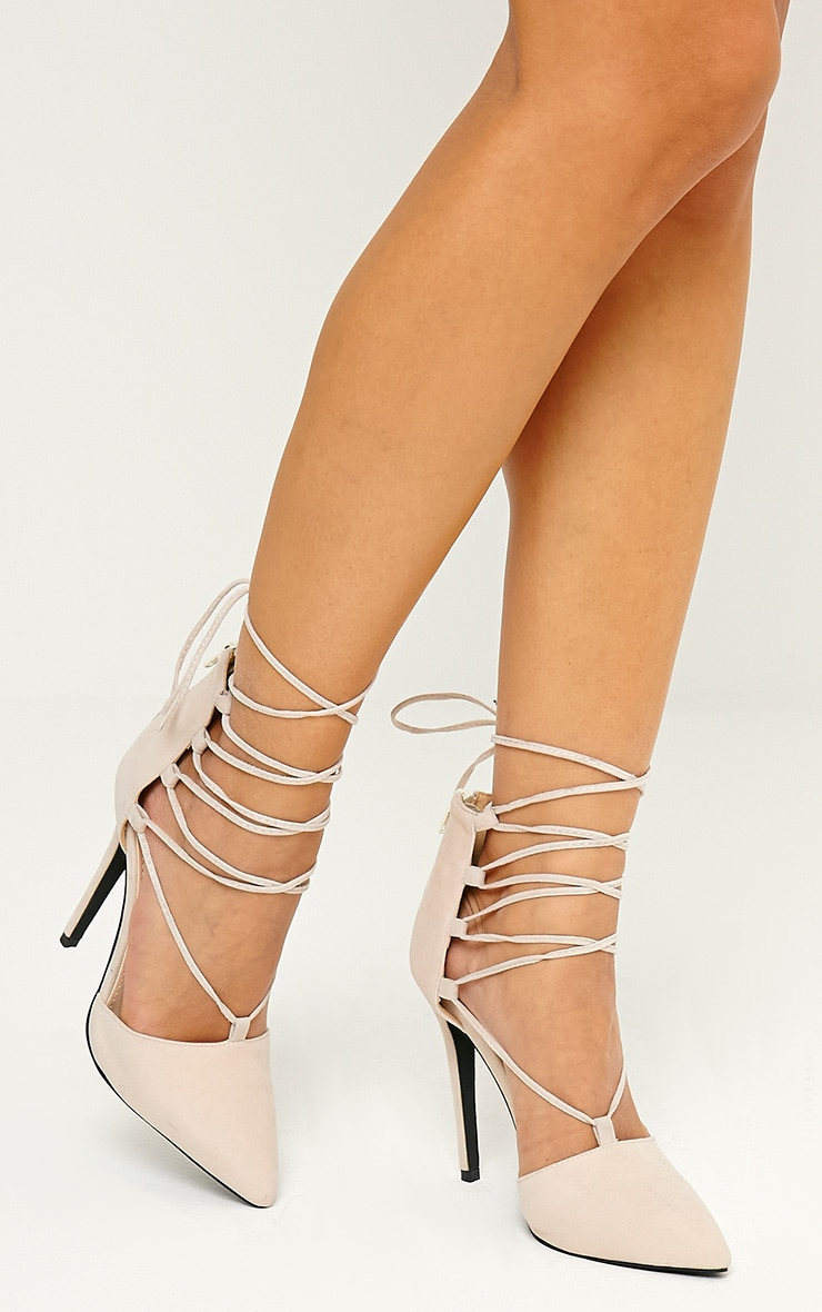 Bali Nude Faux Suede Pointed Strappy Lace Up Shoes 2