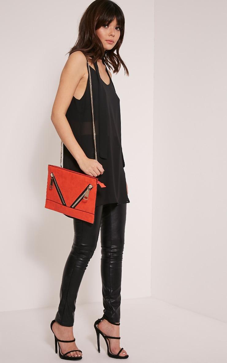 Tay Coral Zip Detail Clutch Bag 6