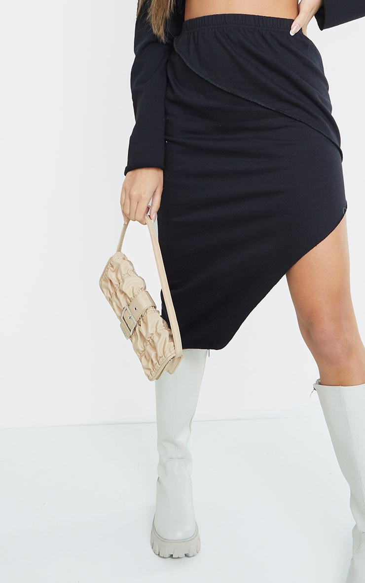 Black Lightweight Contrast Stitch Detail Asymmetric Hem Skirt 5