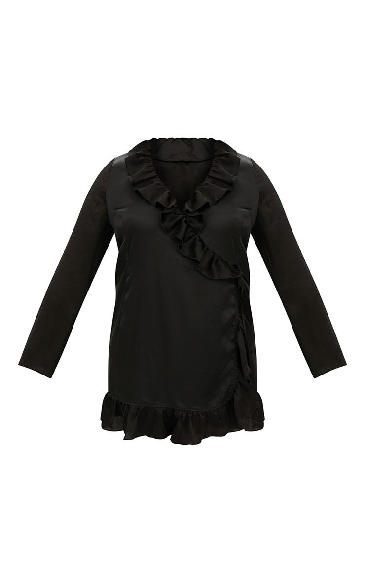 Plus Black Ruffle Wrap Dress 3
