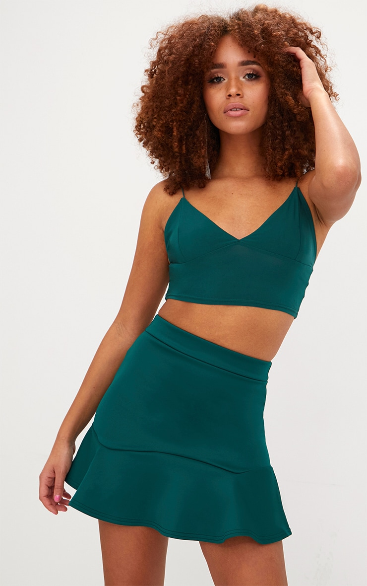Emerald Green Flippy Hem Mini Skirt 1