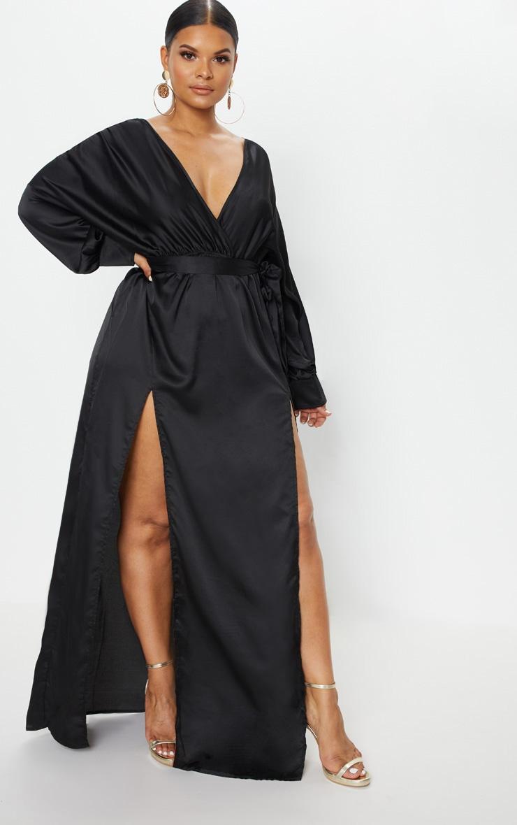 Plus Black Kimono Maxi Dress 3