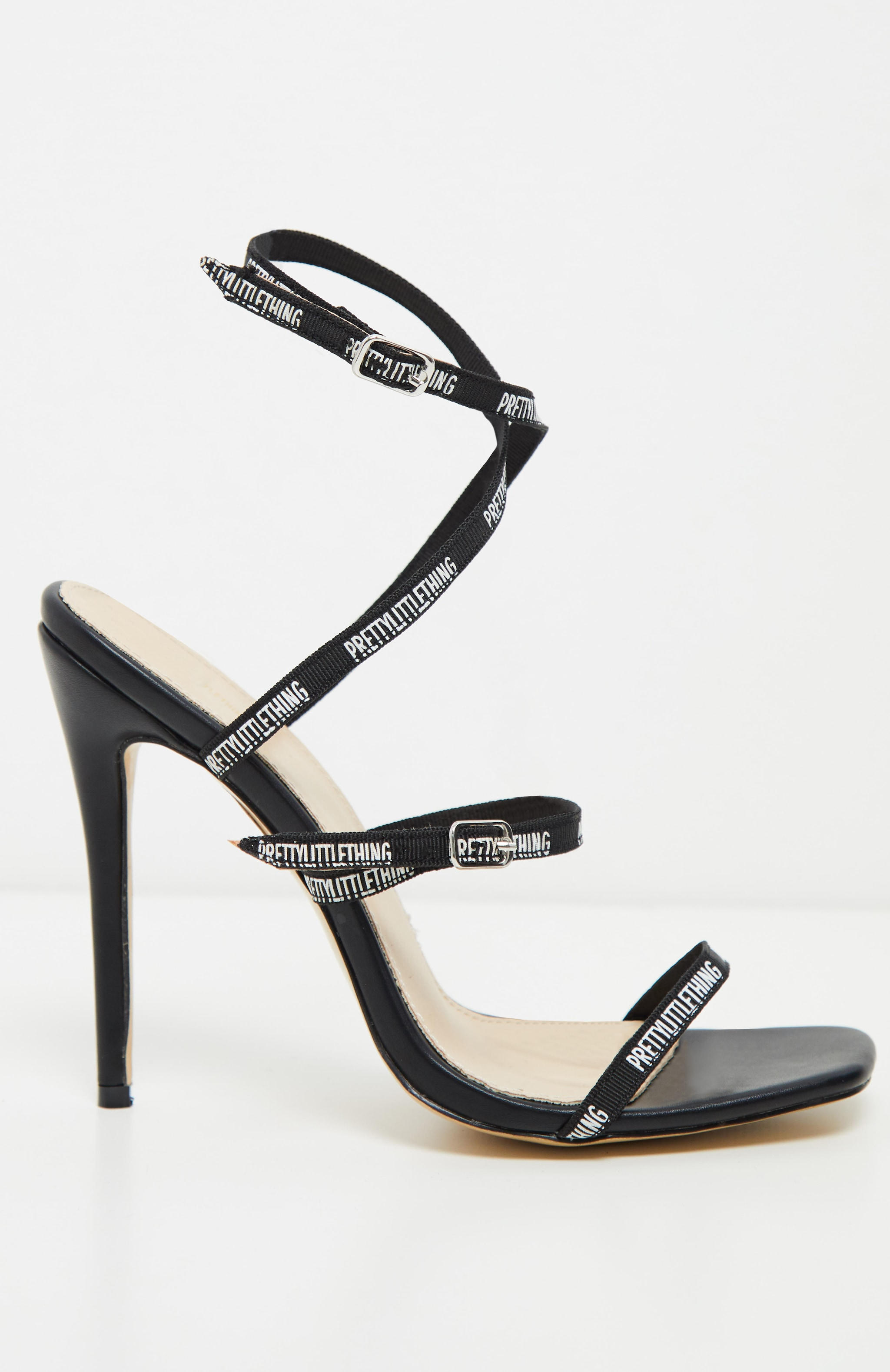 PRETTYLITTLETHING Black Strappy Square Toe Heel 4