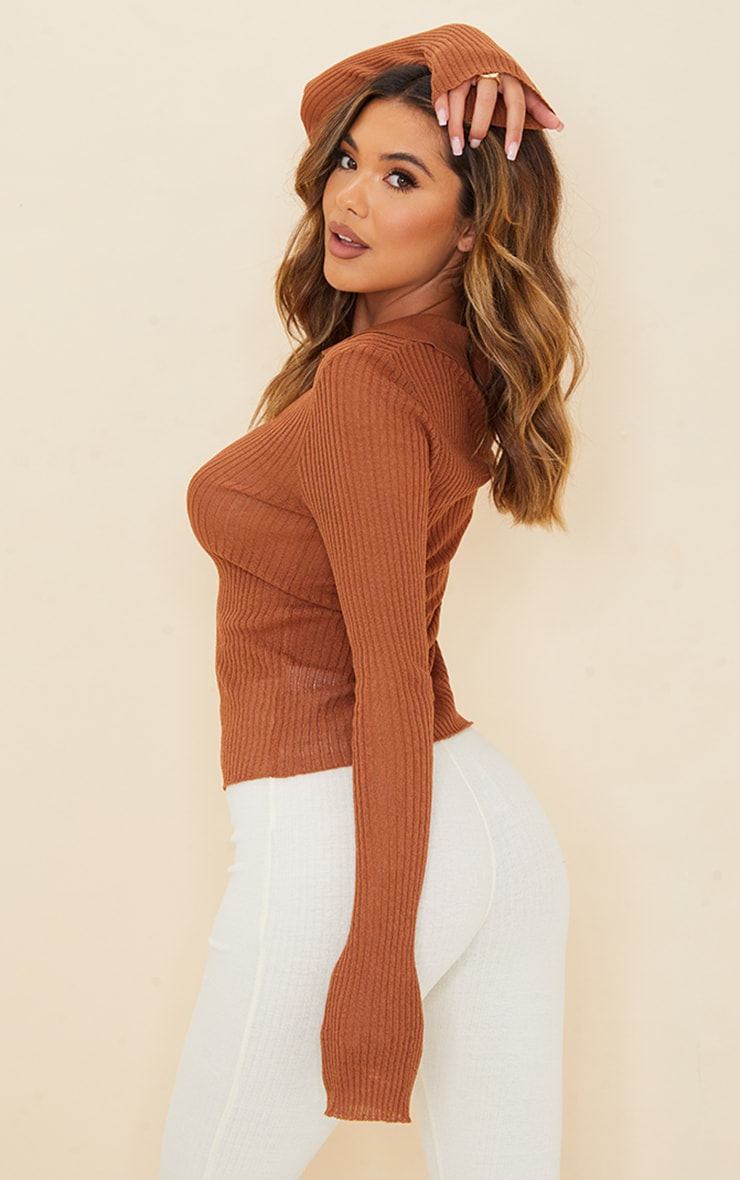 Rust Sheer Knit Button Up Collared Cardigan 2