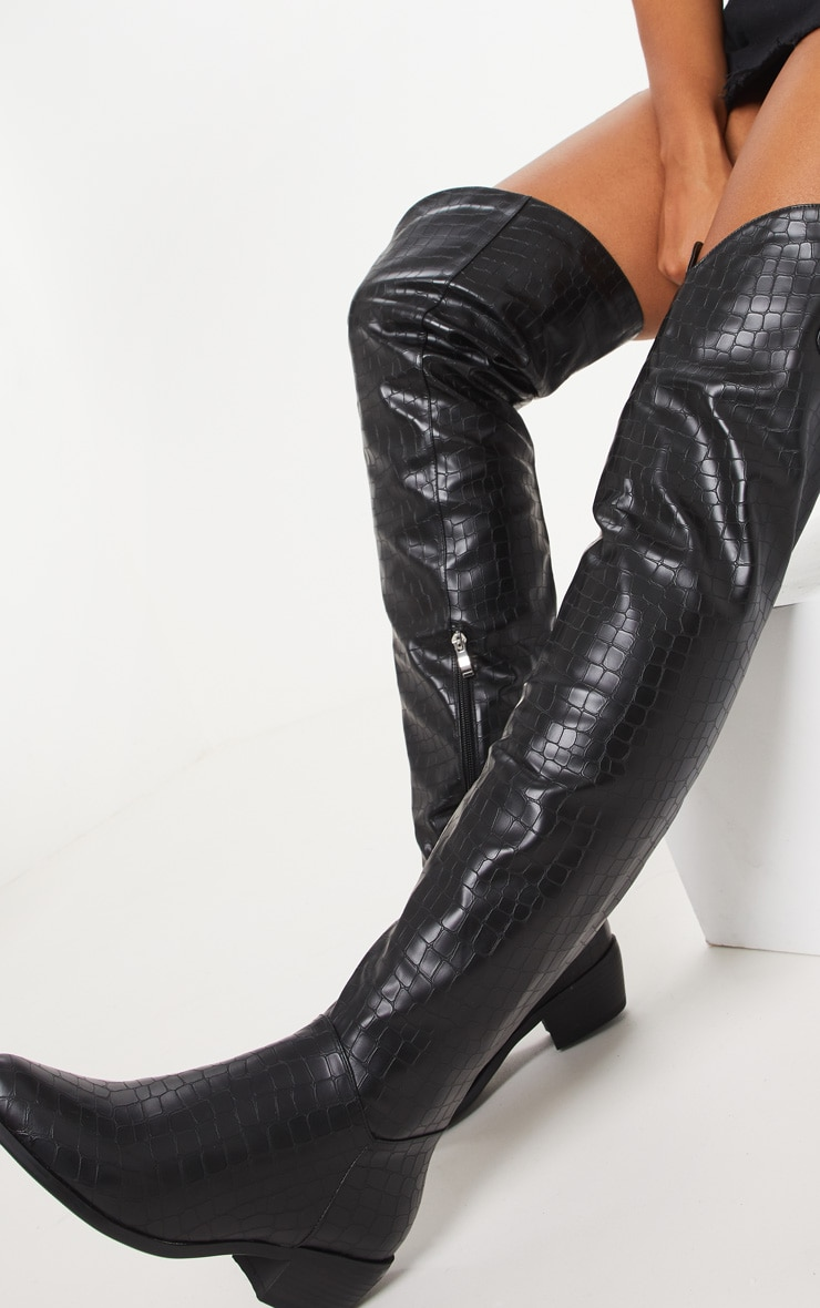 Black Croc Thigh High Western Boot 2