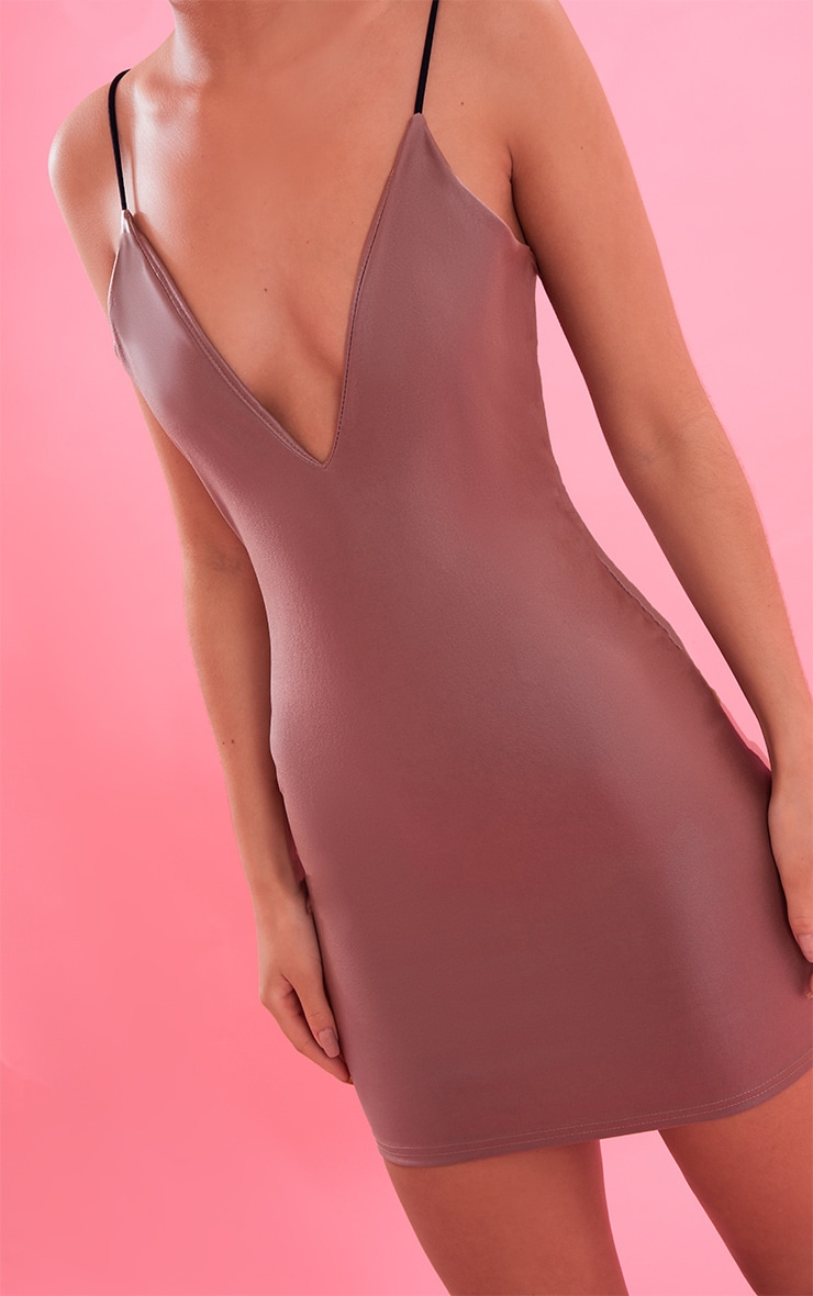 Camel Plunge Front PU Bodycon Dress 6