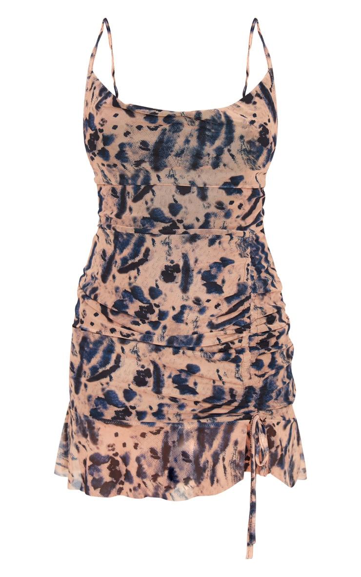 Petite Purple Mesh Stone Tie Dye Ruched Bodycon Dress 5