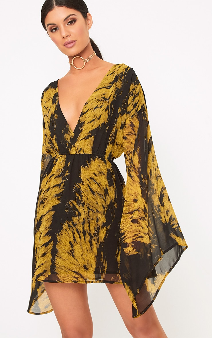 Arielle Black Chiffon Printed Flared Sleeve Swing Dress  1