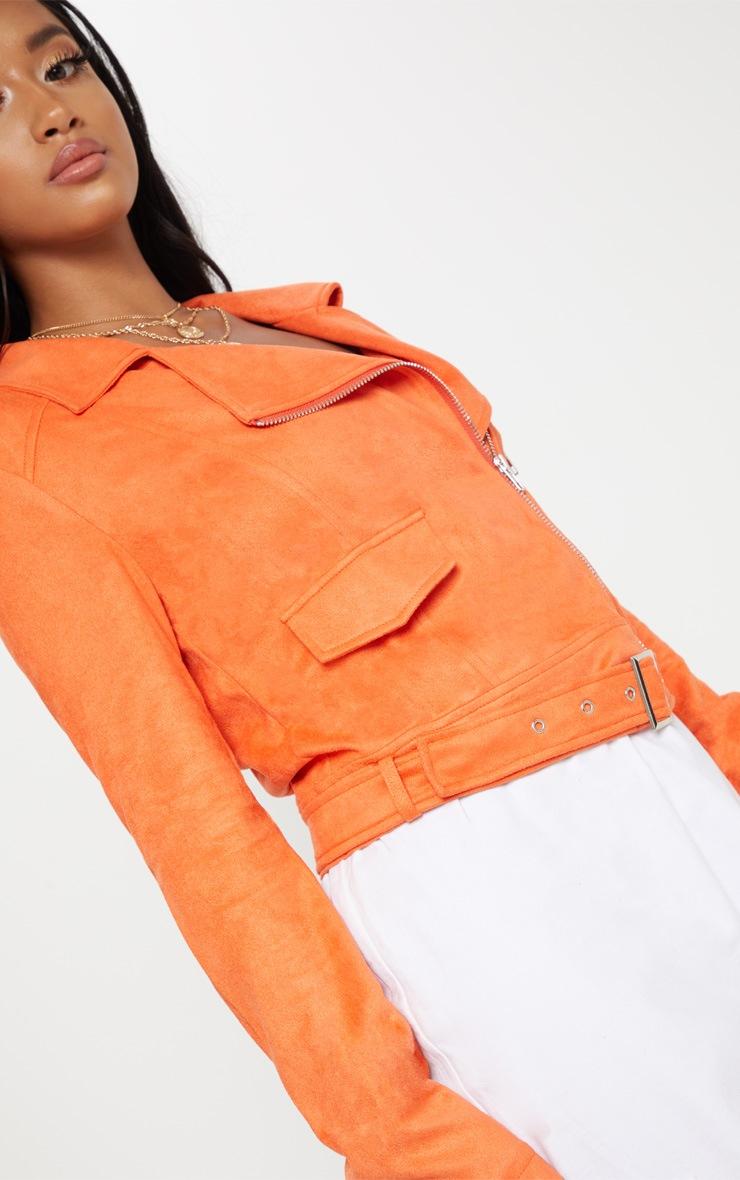 Petite Orange Faux Suede Biker Jacket 5