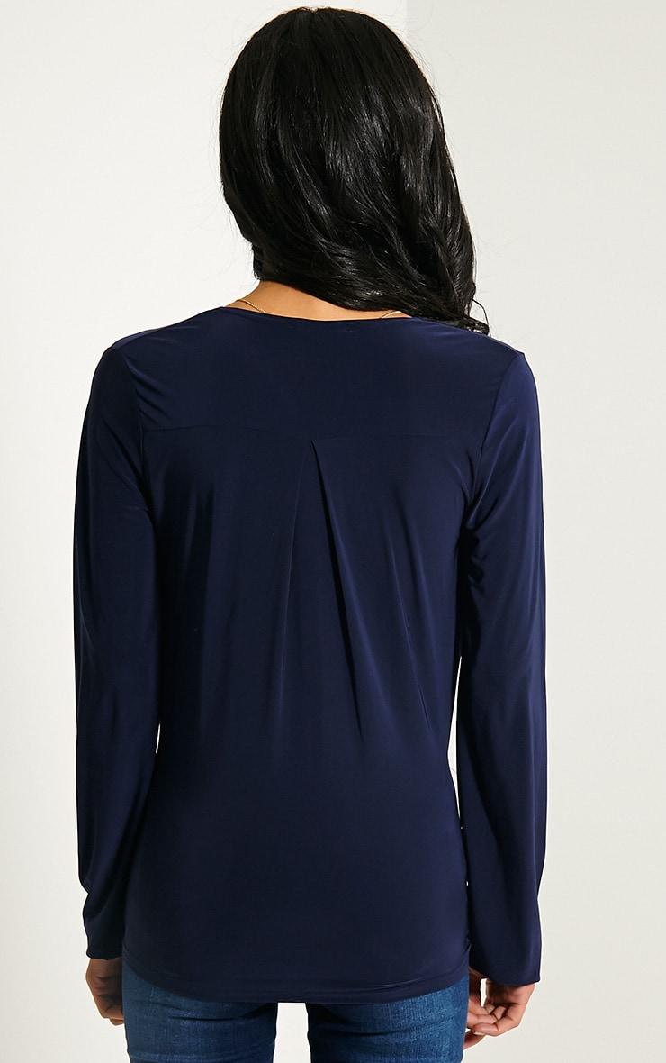 Kimberley Navy Slinky Wrap Top 2