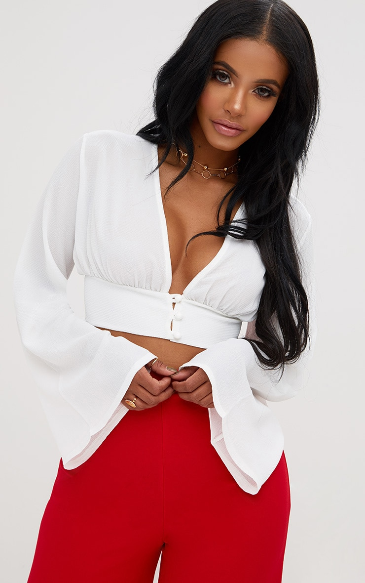 Shape White Button Front Bell Sleeve Top 1