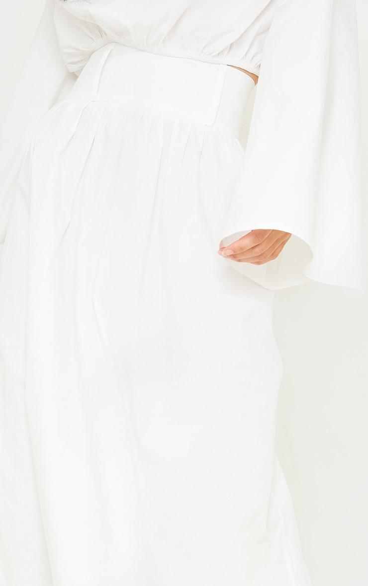 White Woven High Waist Detail Maxi Skirt 4