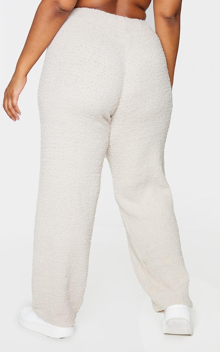 Plus Stone Fluffy Knit Wide Leg Trouser 3