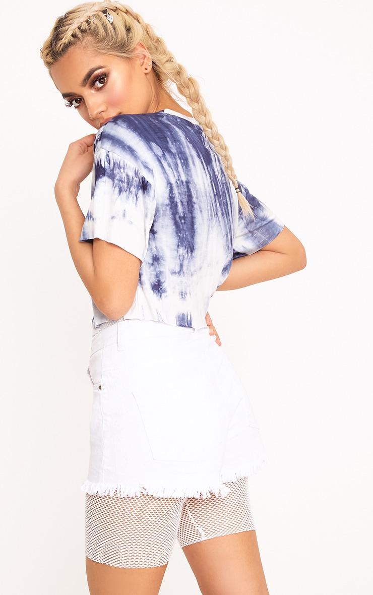Aletha Blue Tie Dye Eye Applique Crop T Shirt 2