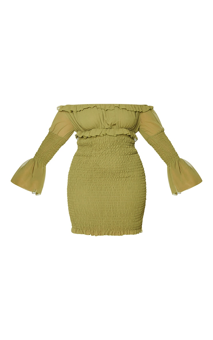 Plus Olive Shirred Chiffon Bodycon Dress 5