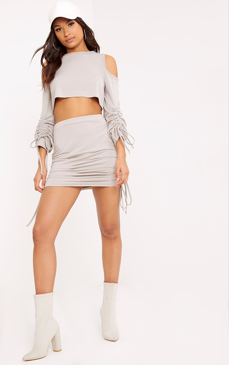Achala Grey Side Ruched Sweat Mini Skirt 1