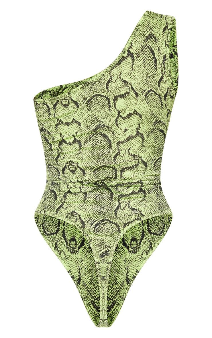 Lime Snake Printed One Shoulder Bodysuit 4