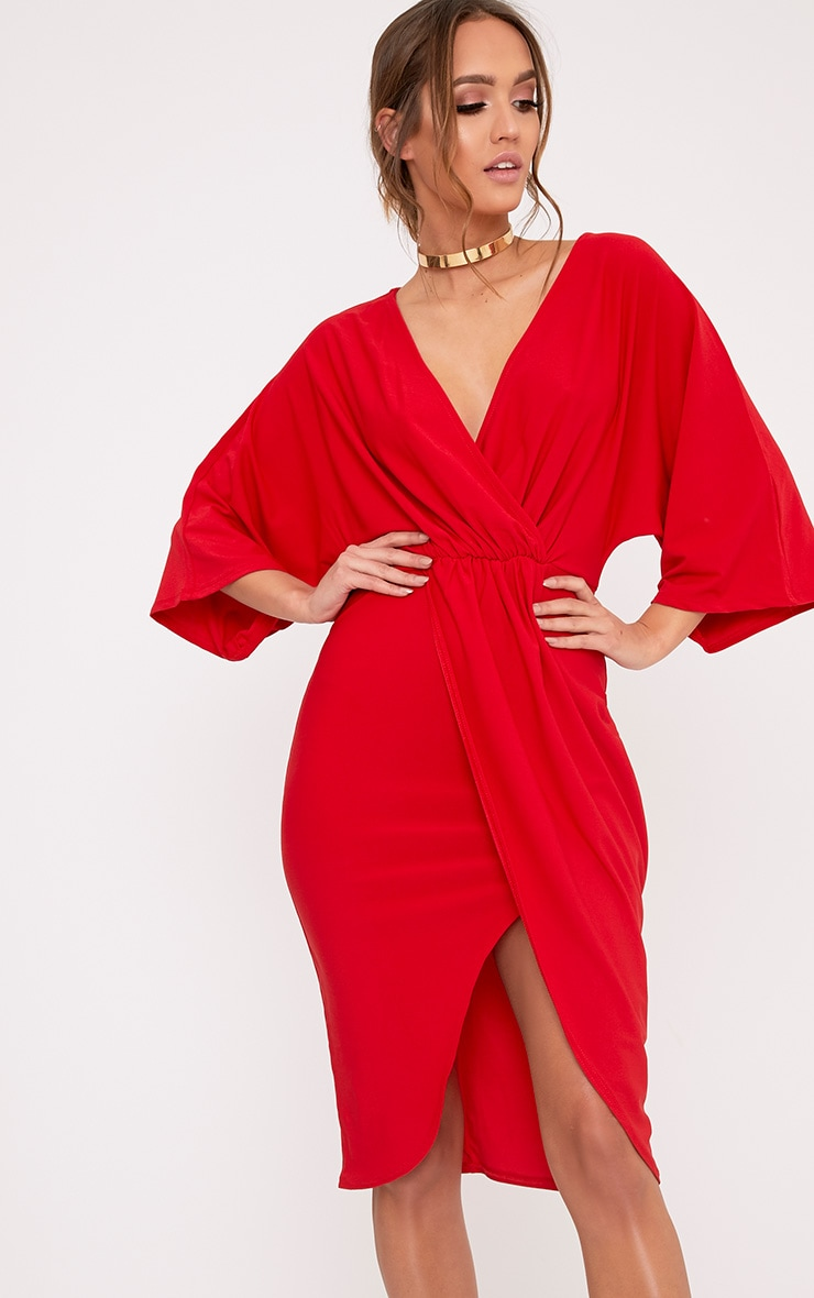 Archer Red Cape Midi Dress 4